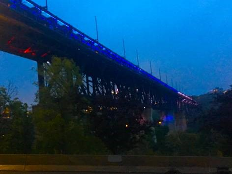 The High Level Bridge in Edmonton, Alberta illuminated blue and white for dystonia.