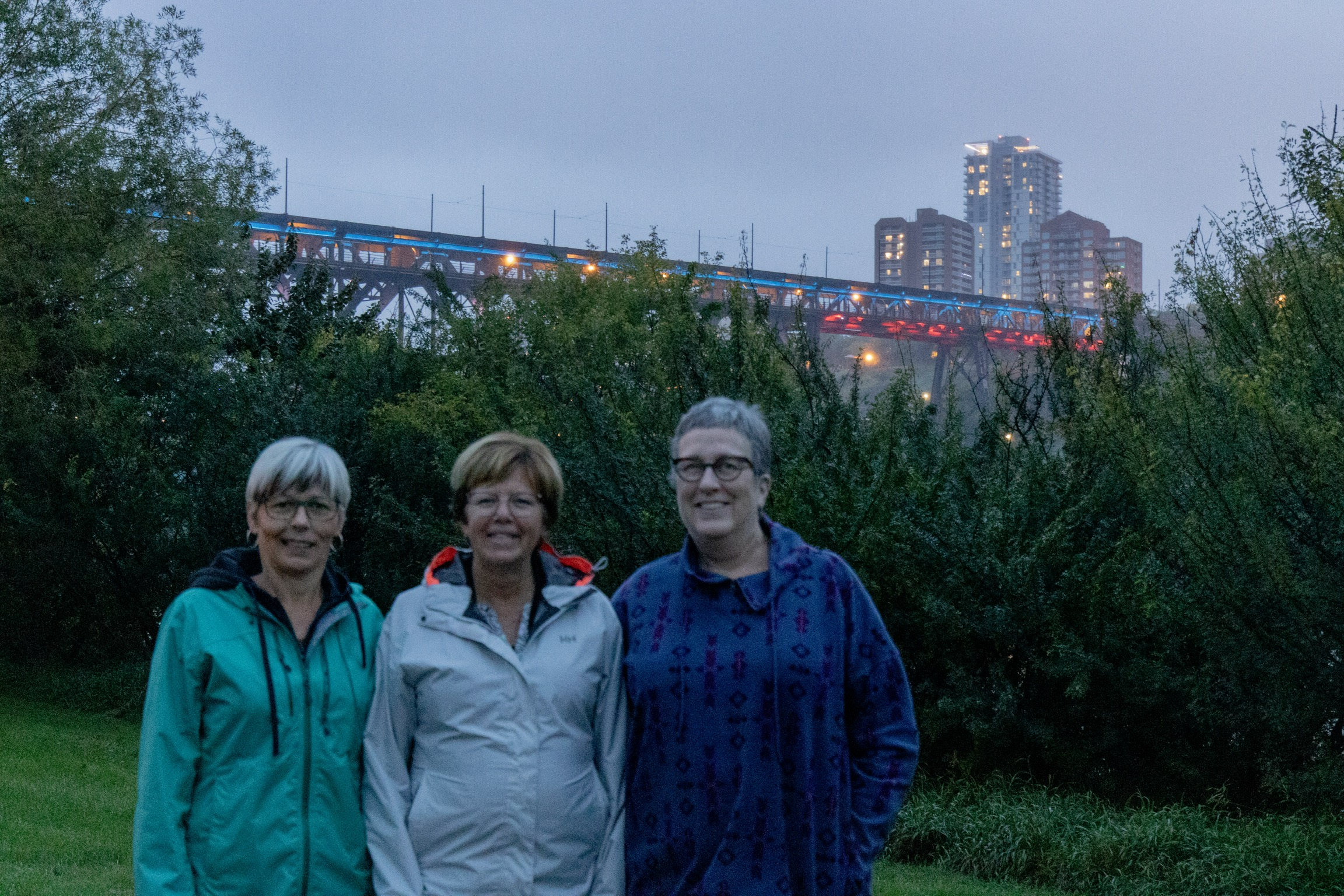 Supporters at the High Level Bridge in Edmonton, Alberta